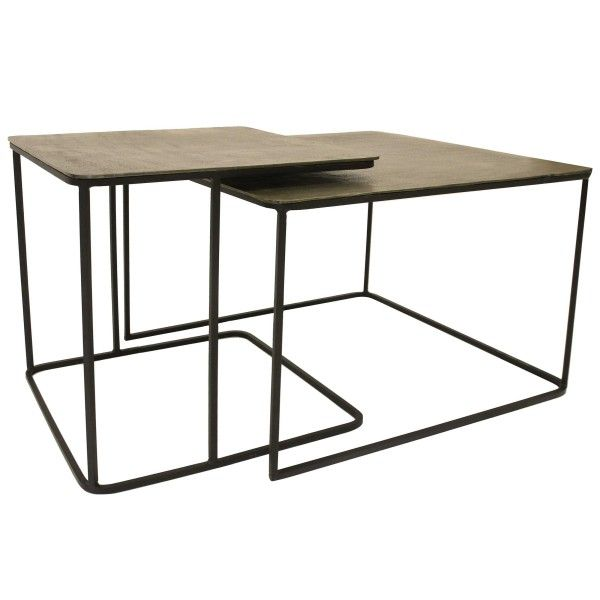 HKliving Metal Brass salontafel set van 2