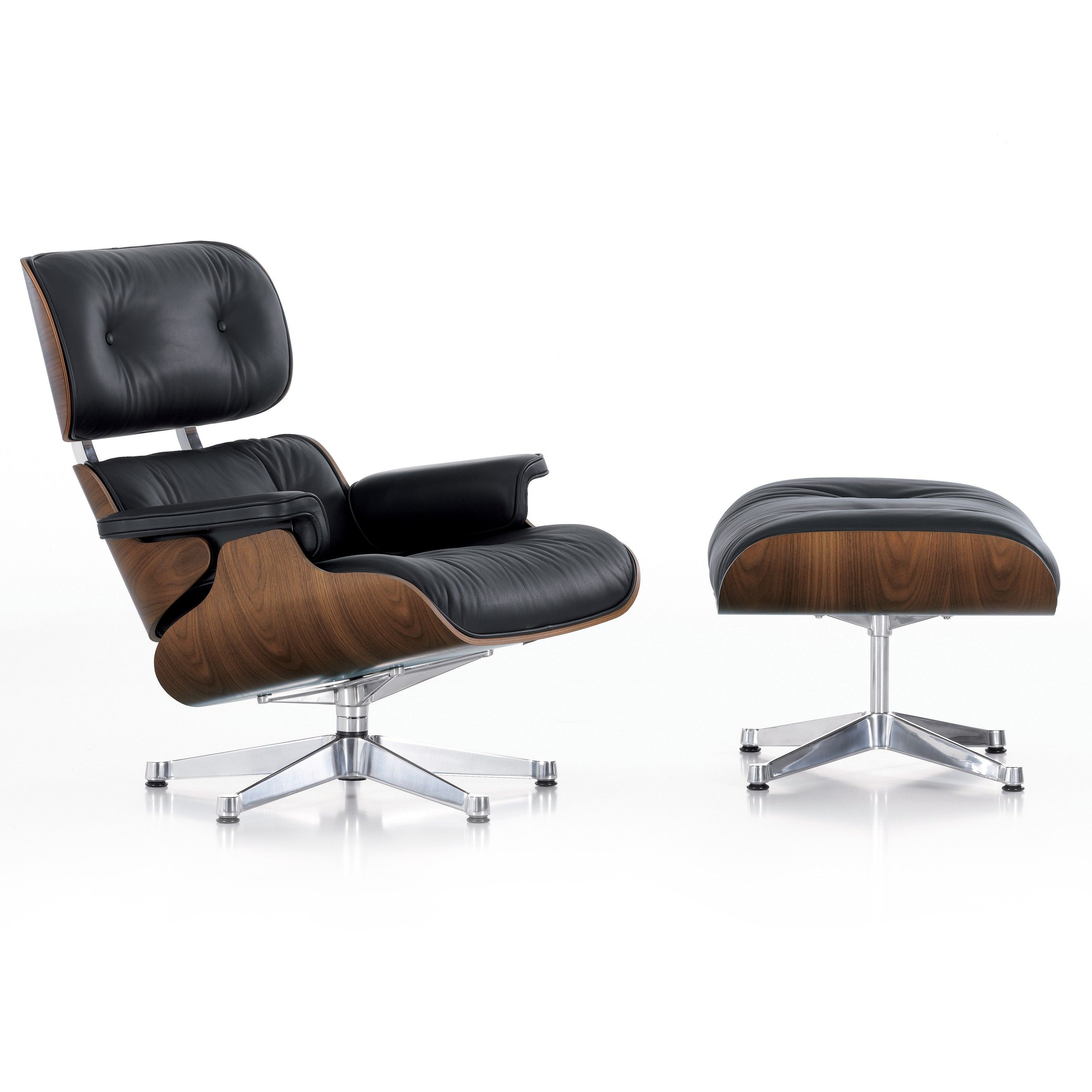 vitra eames lounge chair met ottoman fauteuil nieuwe afmetingen walnotenhout flinders. Black Bedroom Furniture Sets. Home Design Ideas