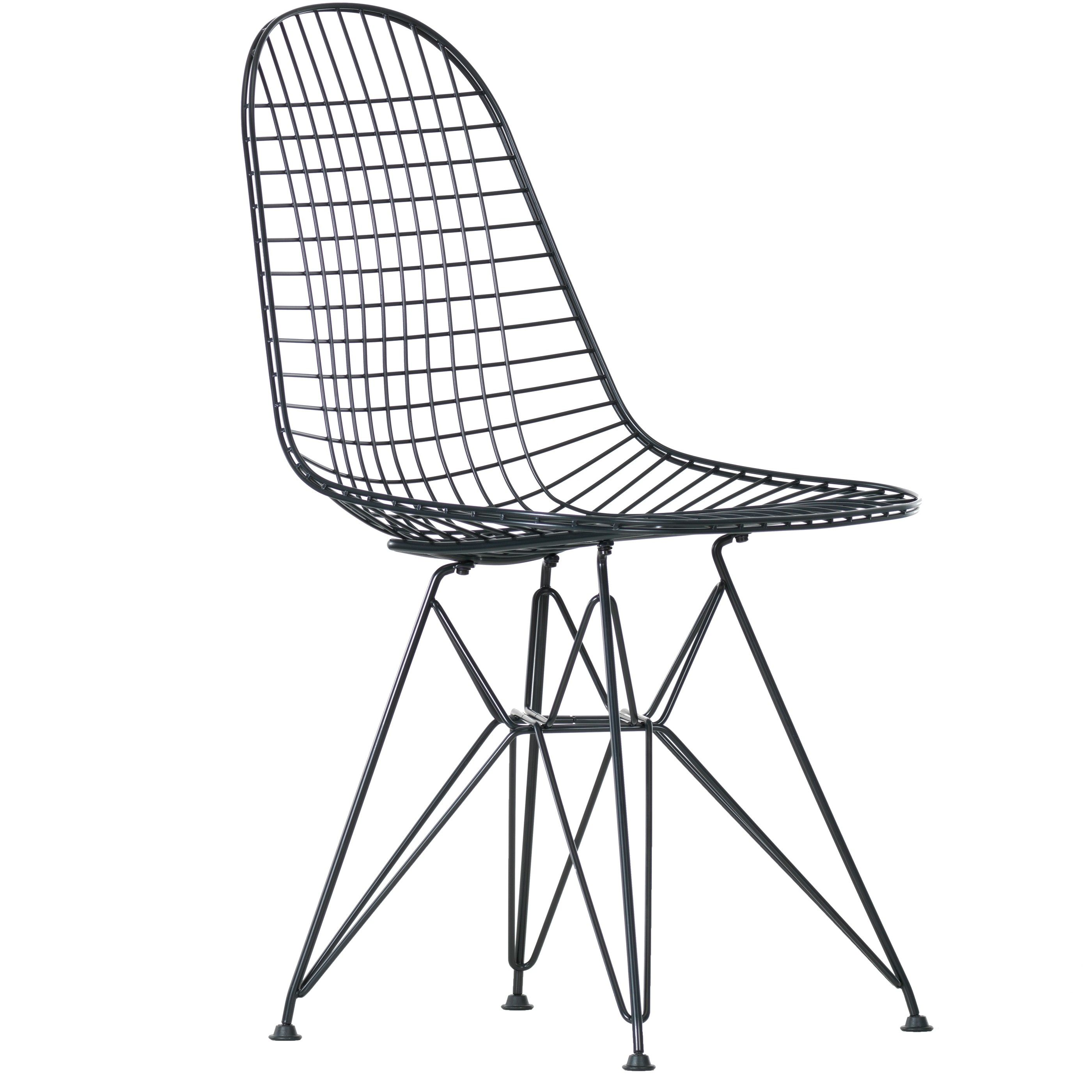 Vitra eames wire chair dkr stoel zwart oude zithoogte for Ray eames stoelen