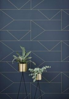 Ferm Living Lines behang donkerblauw