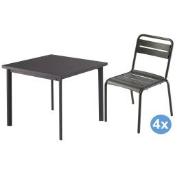 Emu Star tuinset 90x90 tafel + 4 stoelen (chair)