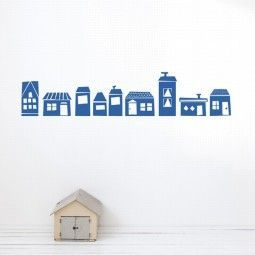 Ferm Living The Village blauw muursticker