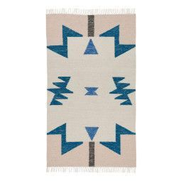 Ferm Living Kelim Rug Blue Triangles vloerkleed small 80x140