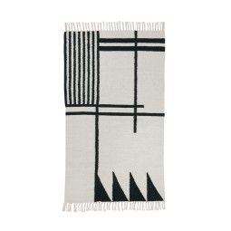 Ferm Living Kelim vloerkleed Black Lines small 80x140