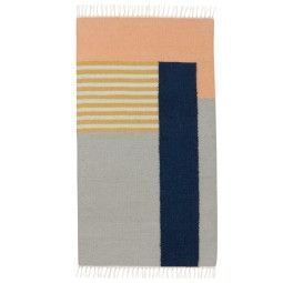 Ferm Living Kelim vloerkleed White Lines small 80x140