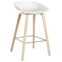 Hay Outlet - About a Stool AAS32 design barkruk, 65 cm, wit - eiken