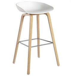 Hay Outlet - About a Stool AAS32 design barkruk, 75 cm, wit - eiken