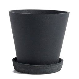 Hay Flowerpot with saucer large, zwart