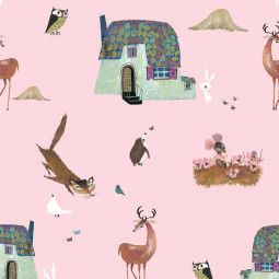 KEK Amsterdam Forest Animals behang roze