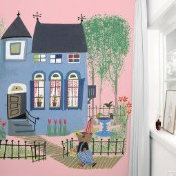 KEK Amsterdam Bear with Blue House roze behang