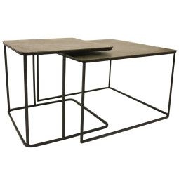 HKliving Outlet - Metal Brass salontafel set van 2