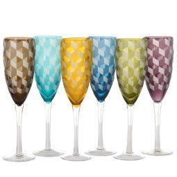 Pols Potten Multicolour Blocks champagneglas 6 stuks