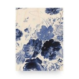 KEK Amsterdam Royal Blue Flowers 3 wandpaneel hout