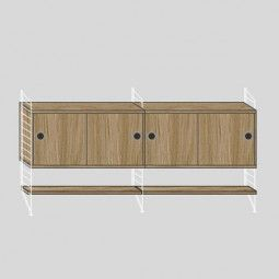 String Dressoir medium, wit/eiken