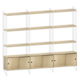 String Hoge kast large, wit/eiken