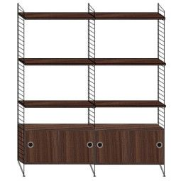 String Hoge kast medium, zwart/walnoot