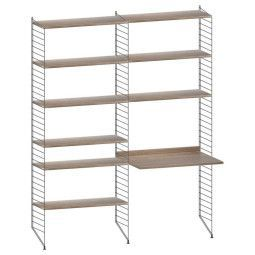 String Kast met tafel medium, zwart/walnoot