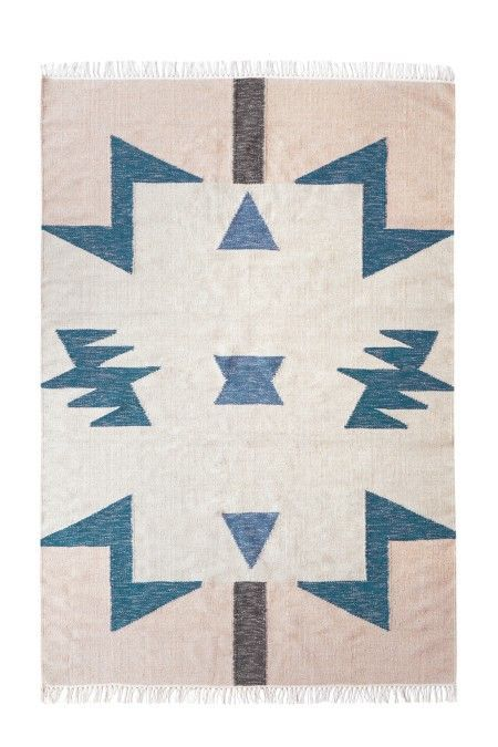 Ferm Living Kelim Rug Blue Triangles vloerkleed large 140x200