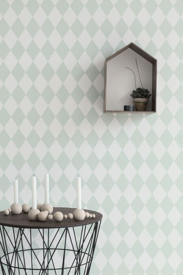 Ferm Living Harlequin behang mint