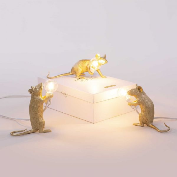 Seletti Mouse Lamp Sitting tafellamp goud