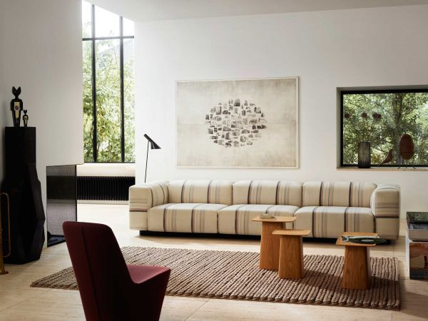 Vitra Soft Modular Sofa bank Ch Longue Aura Stripes lage armleun